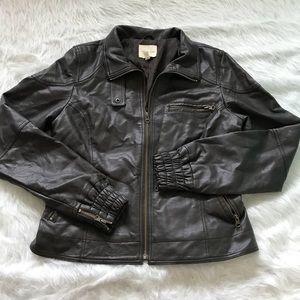 Silence + Noise Vegan Leather Moto Jacket Large